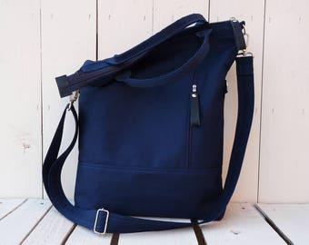 Navy Blue Messenger Backpack, Solid Convertible Cross Body Bag, Minimalist Vegan Laptop Backpack, Unisex Messenger Tote, Handmade Gift