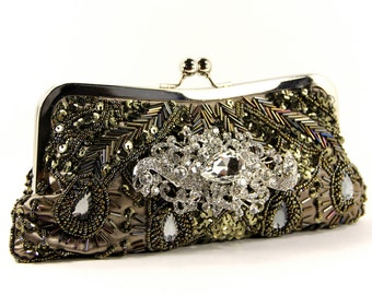 Olive Green Beaded Evening Bag - Beaded Olive Green Clutch - Gorgeous beaded wedding purse, Evening Bag - Green Purse