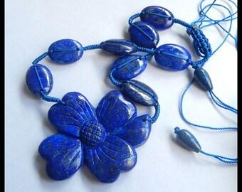 Natural Lapis Lazuli Carving Flower Necklace - Charm Necklace -Handwoven Necklace  45.1g (SET240)