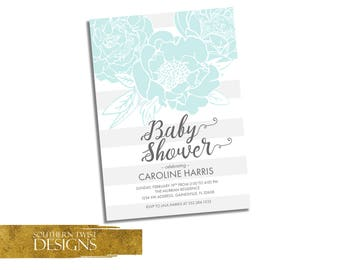 Flowers Baby Shower Invitation - Floral Baby Shower Invitation - Flower Baby Shower Invite - Baby Shower Spring Invitation - Teal White Gray
