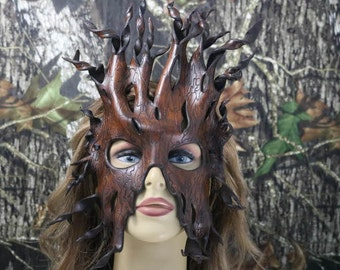 leather tree bark mask