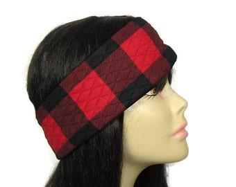 Buffalo Check Head Wrap Red Buffalo Check Ear Warmer Buffalo Plaid Headband Buffalo Plaid Earwarmer Warm Headband Lumberjack Ear Warmer