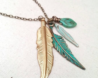 Feather Charm Necklace Bohemian Cluster Czech Glass Leaf - Abilene.
