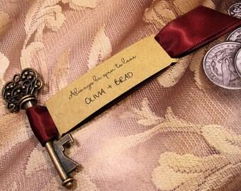 Rustic Key Bottle Opener - Wedding Favor - Set of 10 - Skeleton Key - Personalized - Always be open to love - Vintage inspired - Key Ring