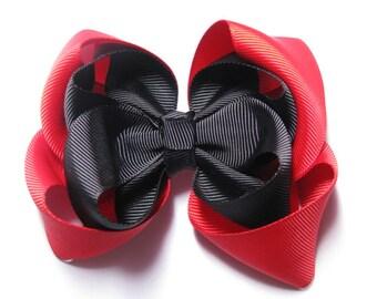 red black puffy bow girls hair bows ribbon accessories hair clip
