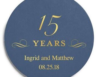 Set of 100 Round Wedding Coasters - Fifteenth Anniversary - Custom Coasters - Weddings - Wedding - Wedding Reception - Wedding Coasters