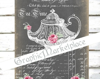 Chalkboard Tea Time Teapot Cup of Tea Instant Download Transfer Burlap digital collage sheet graphic printable No. 773