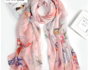 Floral Print Evening Shawls And Wraps Silk | Summer Cooling Scarf | Silk Hat Scarf | Custom Silk Scarves | Fall Floral Scarf