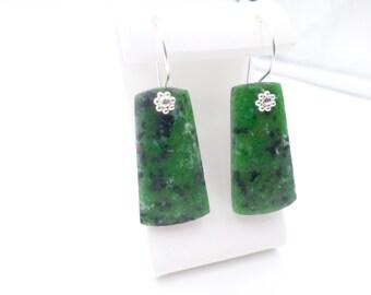 Gemstone Earrings, Ruby Zoisite Earrings, Green Statement Earrings, Gemstone Jewelry, Elegant Earrings, Statement Jewelry,Multicolor Earring