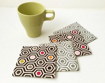 Fabric Coasters - Honeycomb Coasters - Set of 4