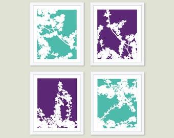 Cherry Blossoms Art Prints -  Cherry Tree Wall Art - Purple Mint and White - Spring Branches Wall Art - Modern Decor - Custom Color Art