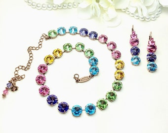 "Swarovski Crystal 12MM  ""Over the Rainbow"" Necklace - Gorgeous Rose, Tanzanite, Aqua, Peridot, Sunflower - Designer Inspired - FREE SHIPPING"