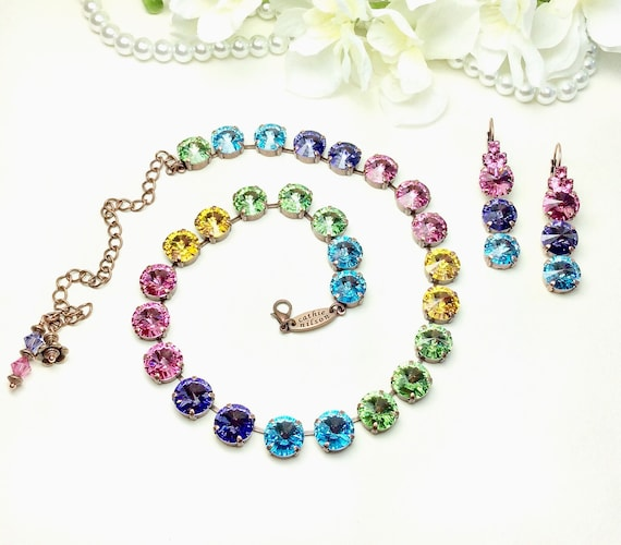 "Swarovski Crystal 12MM  ""Over the Rainbow"" Necklace - Gorgeous Rose, Tanzanite, Aqua, Peridot, Sunflower - Designer Inspired - FREE SHIPPING"