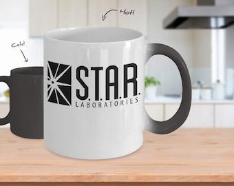 STAR LABS Mug - 11oz Star Labs Coffee Mug (Heat Changing) S.T.A.R Labs Mug - The Flash Coffee Mug - S.T.A.R LABS Coffee Mug - The Flash Gift