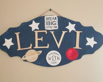 Levi wooden name plaque
