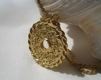 Library of Celsus Necklace, 24K Gold Plated Necklace, Gold Coin Necklace, Ancient Greek Coin, Greek Coin Charm, Vintage Coin Necklace