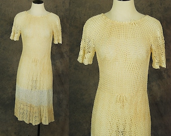 vintage 70s Crochet Dress - 1970s Sheer Knit Dress Boho Two Tone Beige and White Dress Sz XS S M