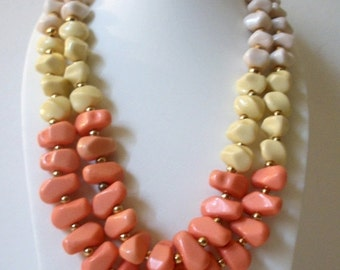 ON SALE Vintage 1970s Chunky Colorful Nuggets Plastic Beads Necklace 81716