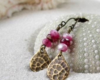 Hypoallergenic Dangle Earrings - Titanium Earrings - Gift for Her - Beaded Earrings - Pink Earrings - Handmade Earrings - Pink Series