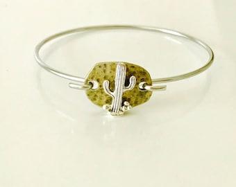 Cactus Bangle Bracelet, cactus jewelry, boho, southwest