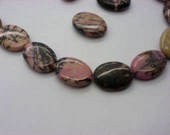5 rhodonites 18 mm x 12 mm natural grade A pink oval