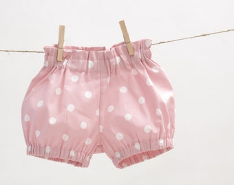 Girls bubble shorts Toddler girls shorts Girls bloomers Girls clothes Pink dot shorts