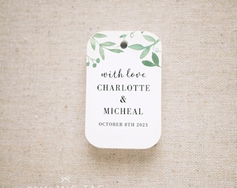 With Love Greenery Wedding Favor Tags, Personalized Gift Tags, Custom Wedding Favor Tags, Bridal Shower Tags - Set of 20 (Item code: J729)