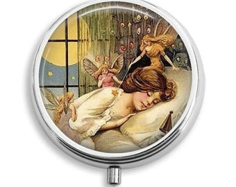 Pill Case Fairy Watching Over Me While I Sleep Pill Box Case Trinket Box Vitamin Holder Medicine Box Mint Tin Gifts For Her