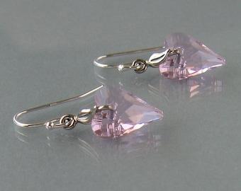 Gift - ON SALE 30% Genuine Swarovski, Rose Heart Earrings, Heart Swarovski Crystal Earrings, Sterling Silver, Pink Swarovski Earrings -DK509