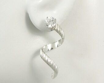Earring Jackets for Studs, Diamond Jacket, Gemstone Jackets, Post Earring Addition, Stud Ear JacketSilver Banded Spiral Dangle JSBANDSS
