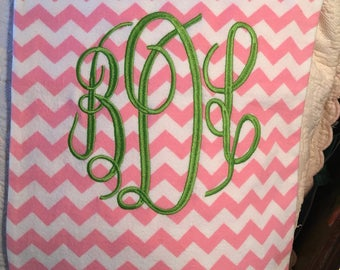 Monogrammed  flannel heating pad cover