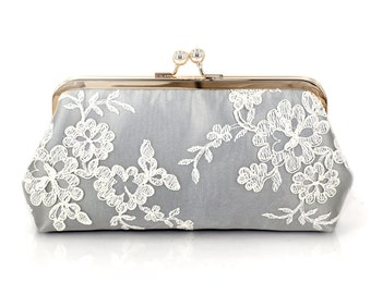 Alencon Lace Bridesmaids Clutch in Silvery Grey | Bridesmaids Gift | Wedding Gift, mother of the bride