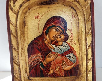 vintage Russian icon plaque gold leaf  frame handpainted Virgin Mary baby Jesus certificate authentic
