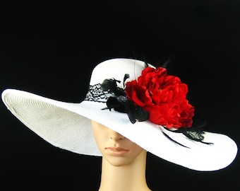 white red derby hat with lace Fascinator