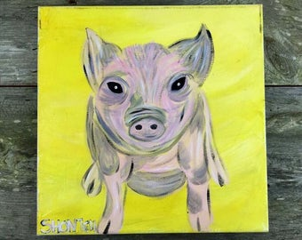 Pig with Black Spots- Farm Animal Nursery Decor- Farmhouse Wall Art- Canvas Wall Art- Pig Décor- Pink Pig- Pig Painting- Pig Canvas- Pig Art