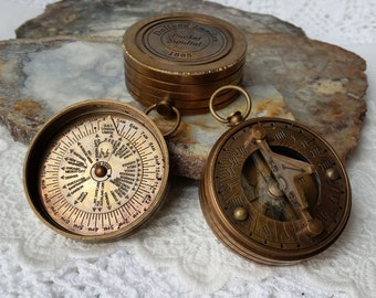 "SECONDS Sundial Compass, 2"" Large Brass  Sundial Compass, STEAMPUNK, Sale, Destash, Close Out, Deal, Marked Down"