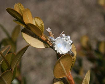 Natural rose cut moonstone and sterling silver hand made ring, size 6