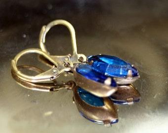Escape to the Tropics Capri Blue Swarovski Vintage Rhinestone Earrings