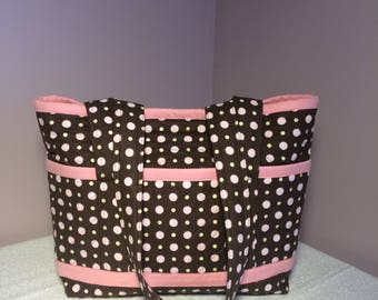 Brown w/ Pink Polka Dots Handmade Quilted Tote Bag, Med