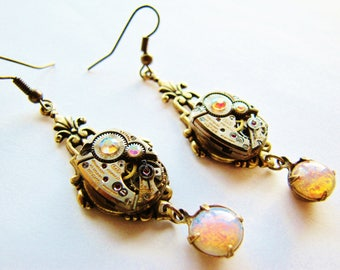 Steampunk Vintage Watch Movement Earrings with Vintage Czech Fire Opals, Steampunk Earrings, Fire Opal Earrings, Watch Earrings, ERG93