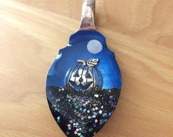 Jack-o-lantern halloween resin spoon pendant necklace