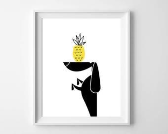Dachshund Art Printable Black White Pineapple Artwork , Playroom Wall Art , Dog Wall Art, Doxie Art Instant Download Pineapple Printable