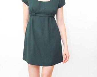 short sleeve green dress   dress with tie   empire waist dress   90s short dress   fitted dress   size small 4