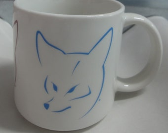 Vintage Three Color Fox Head Mug