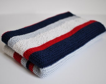 100% Wool Handknit Baby Blanket - Red/White/Blue