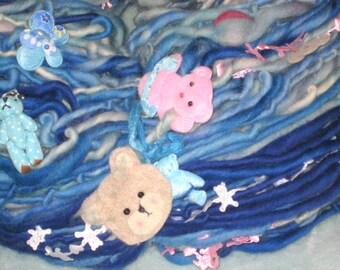 Handspun Art Yarn / Teddy Bear / cute OOAK / You choose colors / pet scarf / Custom Made by Fiber artist GERRY