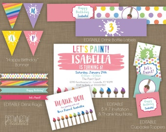 EDITABLE Painting Party Kit // Art Party Printables // INSTANT DOWNLOAD