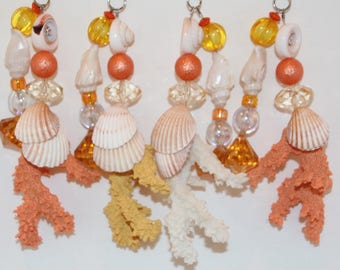 Coral Shell Tablecloth Weights Set of 4