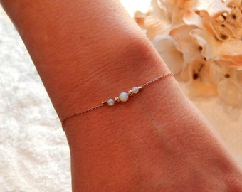 Opal Bracelet • Rose Gold, Gold or Silver Bracelet • Minimal Jewelry • Gift for Girlfriend Sister Her Mom • White Opals [932]