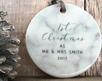 Personalised First Christmas As Mr & Mrs Marble Style Ceramic Decoration Christmas Gift Keepsake Tree Ornament Bauble Decoration